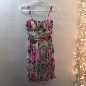 Girls Small Pink Floral Sweetheart Lined Dress